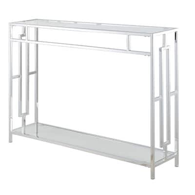 Silver Orchid Adolfi Chrome Console Table