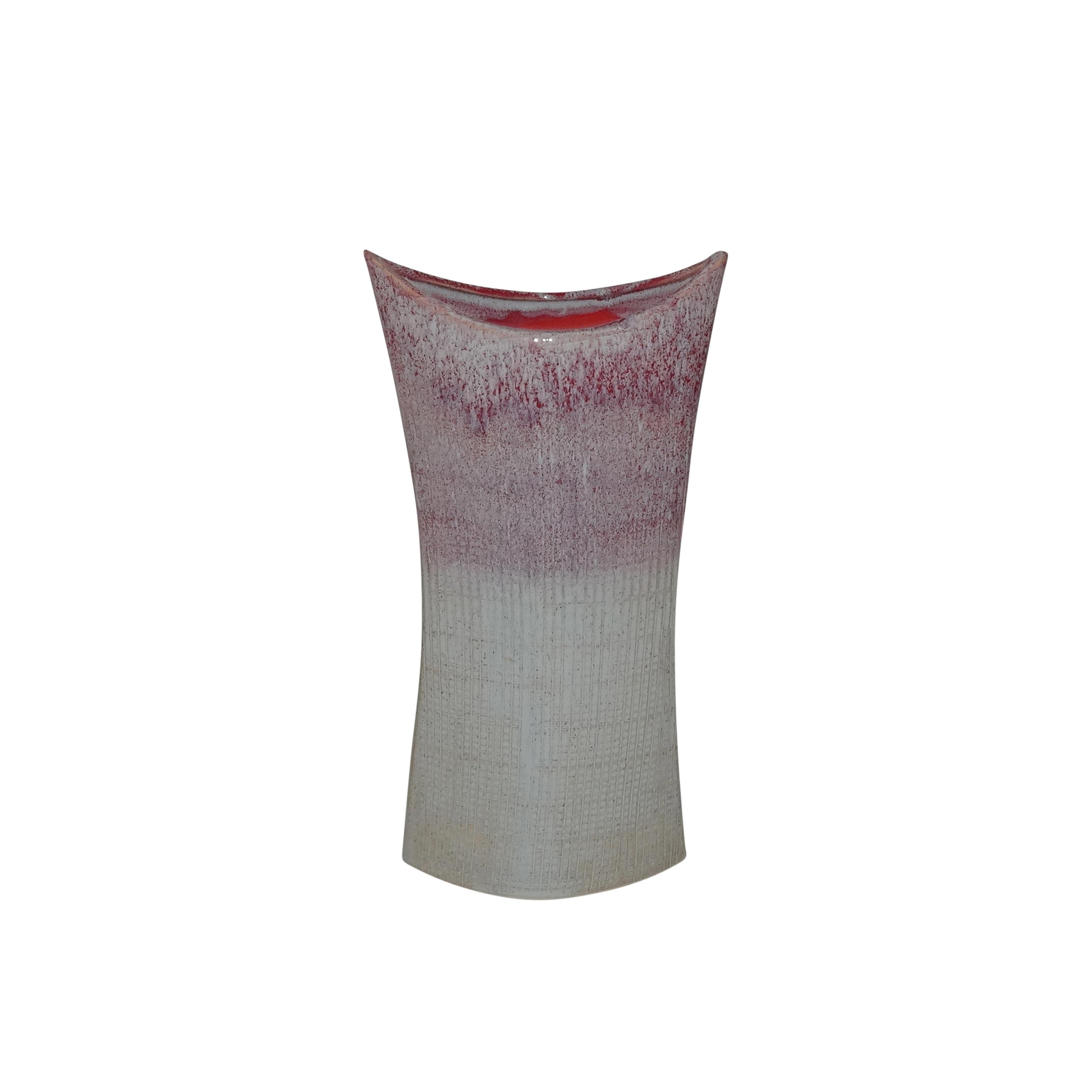 Small Size Decorative Ceramic Vase in Mermaids Purse Shape, Purple