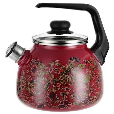 STP-Goods 3.2-Qt Khokhloma Enamel on Steel Whistle Tea Kettle w/ Glass Lid