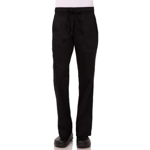 Chef Works Womens Work Pants Solid Black Size XL Straight Fit Comfort