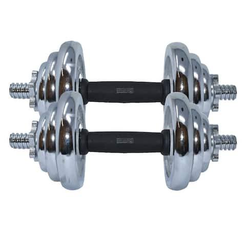 ALEKO Cast Iron Adjustable Dumbbell Set for Home Gym - 44 lbs (20 kg) - Chrome Finish