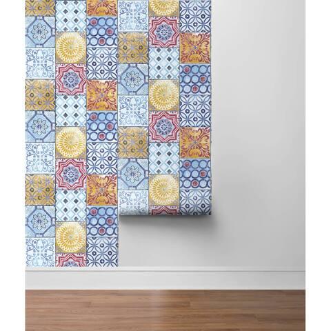 """Rialto, Colorful Moroccan Tile 18' x 20.5"""" Peel & Stick Wallpaper Roll"""