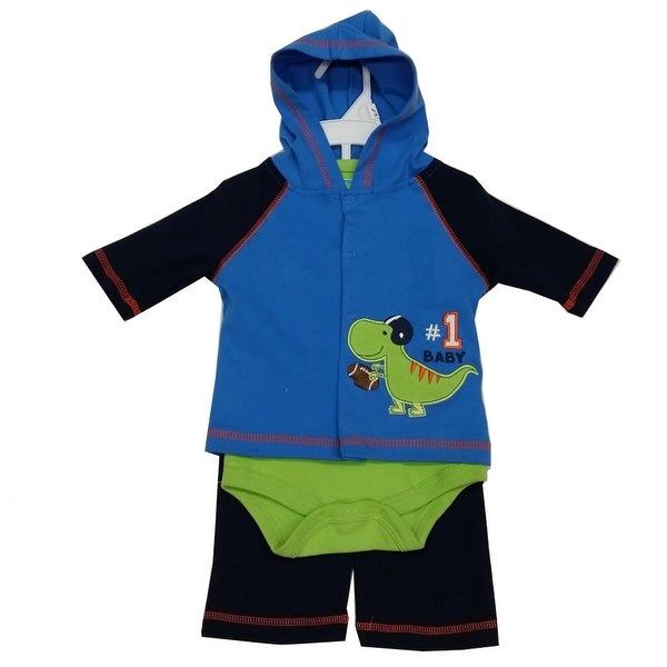 Bon Bebe Baby Boys Green Navy Dino Baseball Hooded Top Bodysuit 3 Pc Pant Set 3-9M