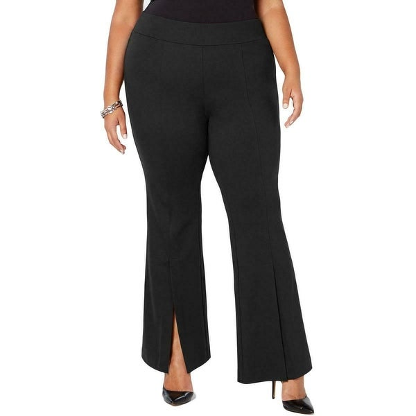 INC Women's Pants Black Size 22W Plus Flare Leg Front Slit Stretch. Opens flyout.