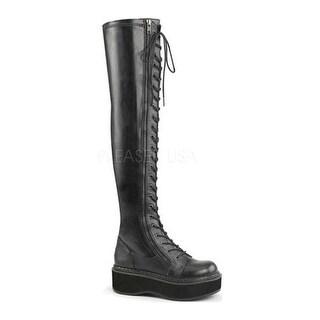 Demonia Women's Emily 375 Thigh High Boot Black Stretch Vegan Leather