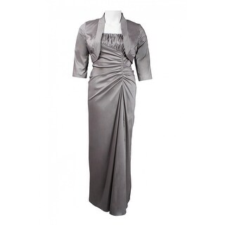Link to Niteline Straight Neckline Ruched Bodice Satin Dress Similar Items in Dresses