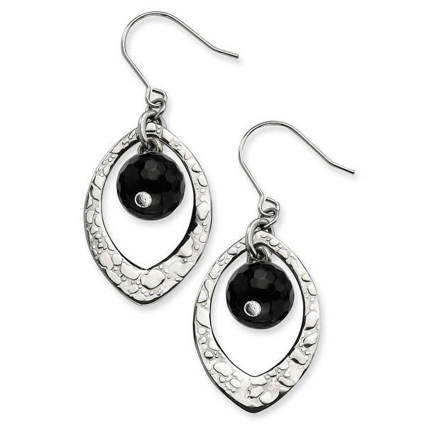 Chisel Stainless Steel Hammered Oval and Onyx Dangle Earrings