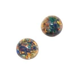 Faux Blue Opal Foil Glass Cabochon Round 7mm (2)