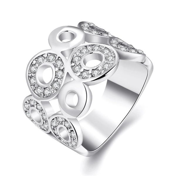 White Gold Geometric Circles Ring