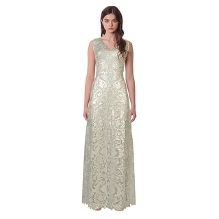 Tadashi Shoji Metallic Embroidered Sequin V-Neck Evening Gown Dress