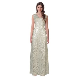 Tadashi Shoji Metallic Embroidered Sequin V-Neck Evening Gown Dress Silver