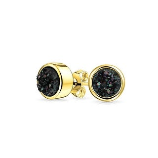 Bling Jewelry Dyed Black Druzy Quartz Stud earrings Gold Plated 8mm