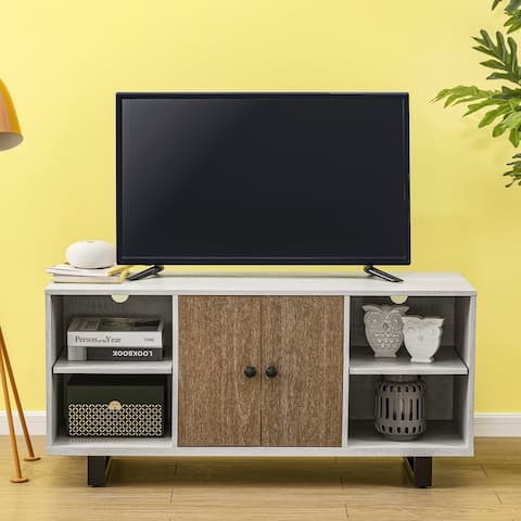 48 in. Saw Cut-off White TV Stand for TVs up to 53 in.
