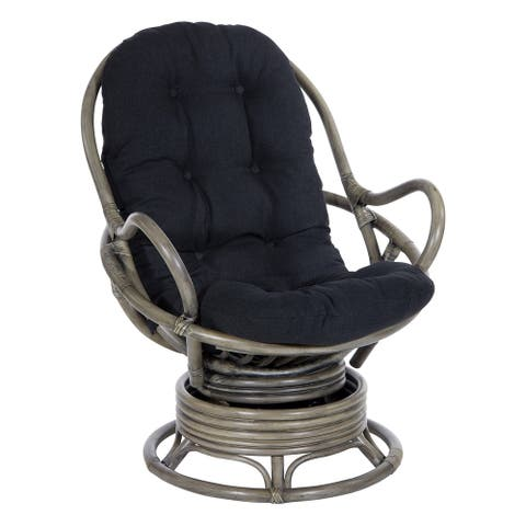 Tahiti Rattan Swivel Rocker Chair with Grey Frame