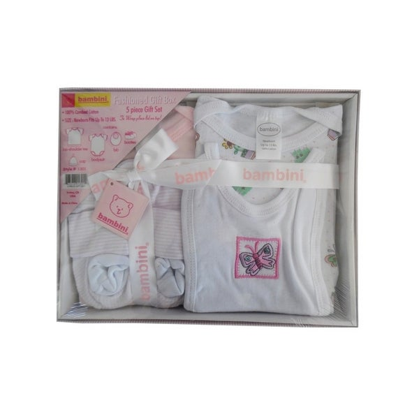 Bambini Baby Pink Newborn 5-Piece Pastel Interlock Boxed Gift Set