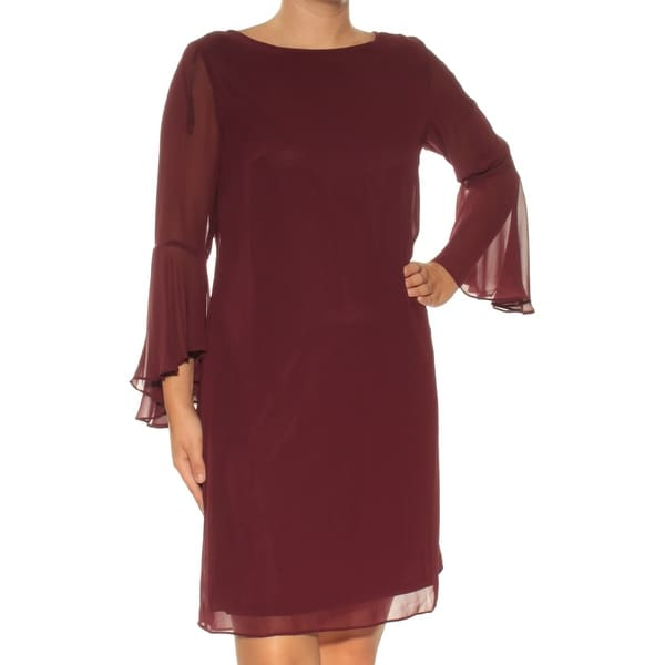 769b21c2113d Shop Womens Maroon Long Sleeve Above The Knee Shift Dress Size  6 - Free  Shipping On Orders Over  45 - Overstock.com - 24083024
