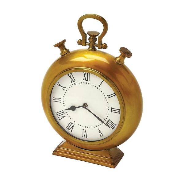 Transitional Round Aluminium Antique Brass Finish Desk Clock - Gold - N/A