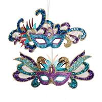 """Club Pack of 12 Glittered Carnival Mask Christmas Ornaments 8.25"""" - BLue"""