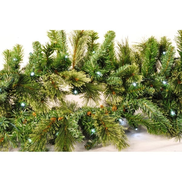 Christmas at Winterland WL-GARBM-09-LPW 9 Foot Pre-Lit Pure White LED Blended Pine Garland Indoor / Outdoor - Pure White - N/A