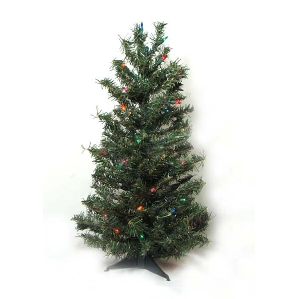 2' Pre-Lit Canadian Pine Artificial Christmas Tree - Multi Lights