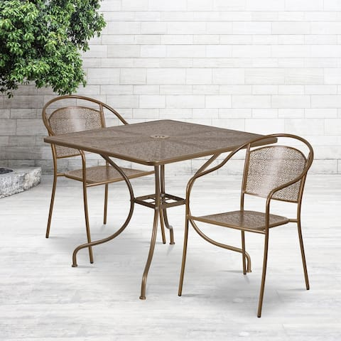 "35.5"" Square Gold Indoor-Outdoor Steel Patio Table Set w/ 2 Round Back Chairs"
