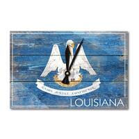 Rustic Louisiana State Flag - LP Artwork (Acrylic Wall Clock) - acrylic wall clock