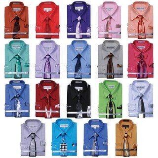 Boy's Basic Dress Shirt with a VARYING Tie and Hanky Set 1