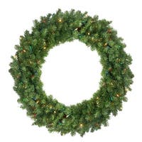 "30"" Pre-Lit Canadian Pine Artificial Christmas Wreath - Multi Lights - green"
