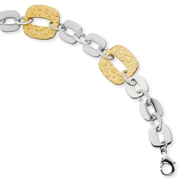 Chisel Stainless Steel Gold IP Plated Sqare Link Bracelet
