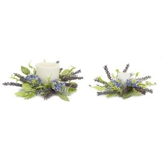 """Pack of 4 Hydrangea Artificial Lavender Purple Decorative Candle Rings 16"""""""