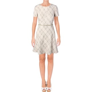 Tahari ASL Womens Petites Wear to Work Dress Boucle Embellished