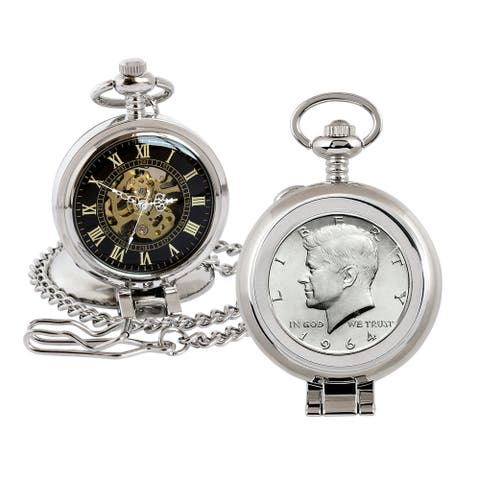 JFK 1964 First Year of Issue Half Dollar Coin Pocket Watch with Skeleton Movement - 2.75 x 1.5