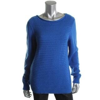 Calvin Klein Womens Pullover Sweater Basketweave Jewel Neck - m