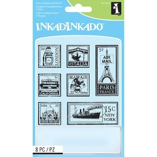 "Inkadinkado Inchie Clear Stamps W/Block 4""X5""-Travel Postage - travel postage stamps"
