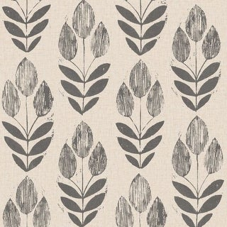 Brewster 2535-20651 Scandinavian Black Block Print Tulip Wallpaper