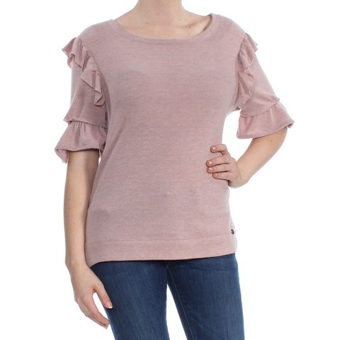 WILLIAM RAST Womens Pink Ruffled 3/4 Sleeve Jewel Neck Blouse Top Size: M