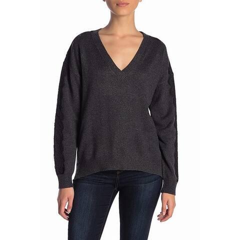 14th & Union Dark Gray Womens Size Small S V-Neck Lace Trim Sweater