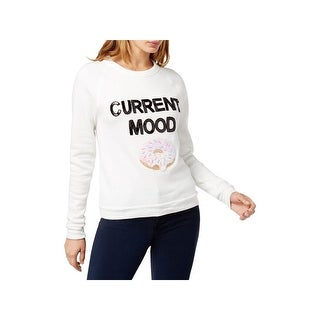 Bow & Drape Womens Juniors Current Mood Sweatshirt Sequin Beaded