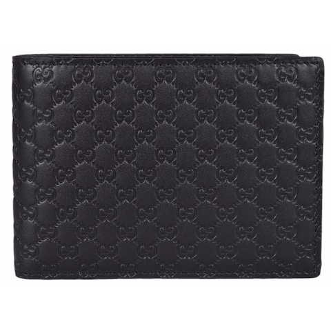 "Gucci Men's 278596 Black Micro GG Guccissima Large Bifold Wallet - 5"" x 3.75"""
