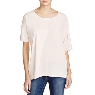 K&C Womens Casual Top Faux Suede Mixed Media
