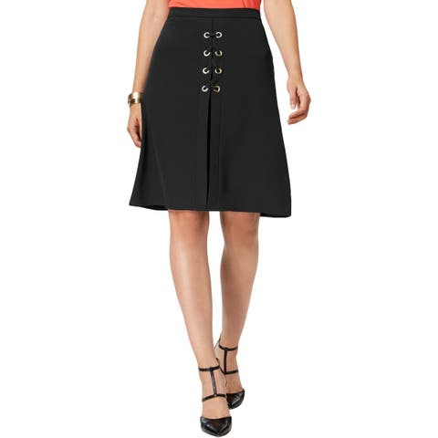 NY Collection Womens A-Line Skirt Lace Up Grommet Embellished
