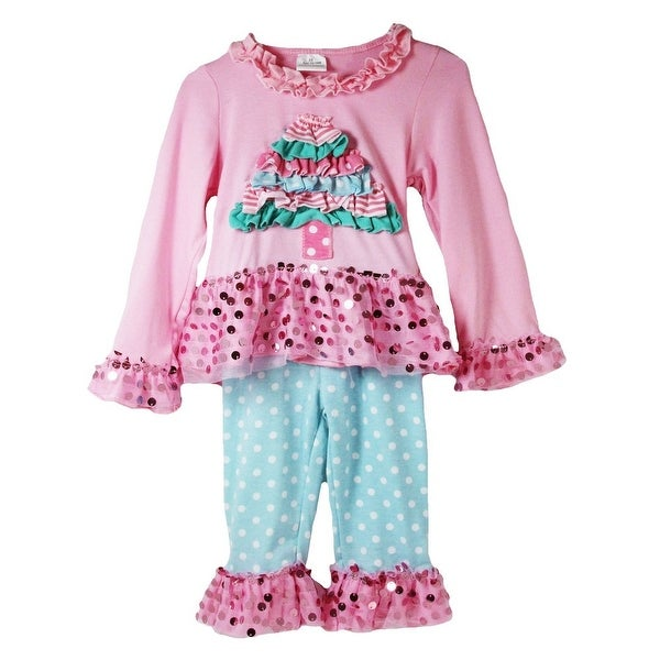 Baby Girls Pink Blue Long Sleeve Christmas Tree Applique 2 Pc Pant Set