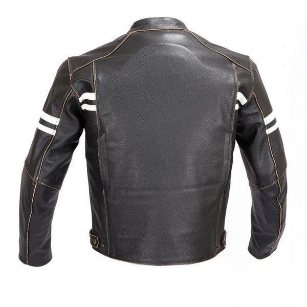 Trendy Biker Style Vintage Buffed Black Leather Jacket for Men