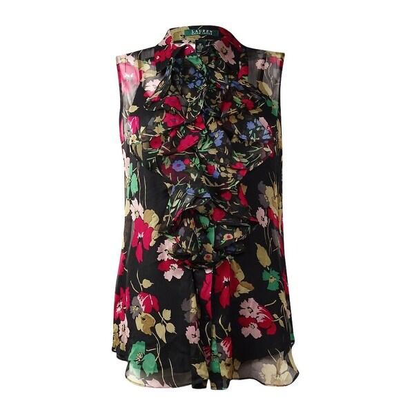c00e80f447 Shop Lauren Ralph Lauren Women s Floral Print Ruffled Sheer Blouse ...