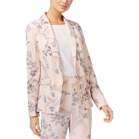 Bar Iii Womens Floral One Button Blazer Jacket