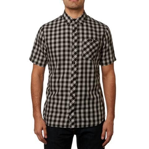 Fox Men's Button-Down Plaid Shirt, Gray, S