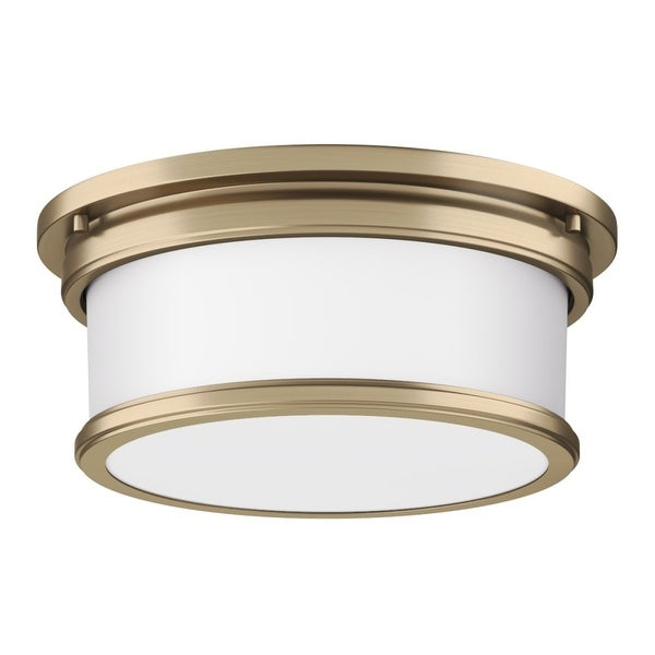 "Park Harbor PHFL4032 2-Light 12-1/2"" Wide Flush Mount Drum Ceiling Fixture with Frosted Glass Shade"