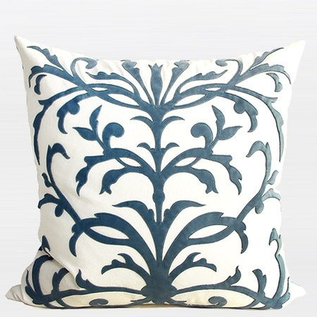 """G Home Collection Luxury Sky Blue European Pattern Embroidered Pillow 22""""X22"""""""