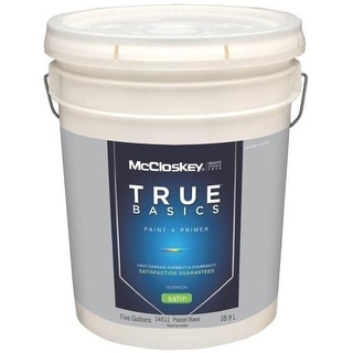 McCloskey 14511 True Basics Interior Latex Satin Paint, 5 Gallon, Pastel Base