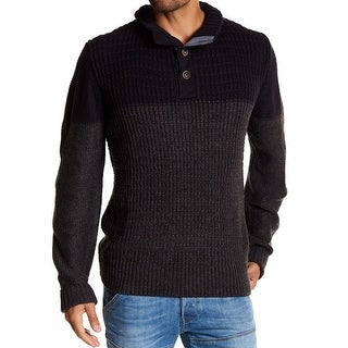 Weatherproof NEW Blue Mens Medium M Henley Waffle Knit Two Tone Sweater